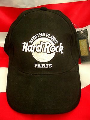 HRC Hard Rock Cafe Paris Black  Basecap Base Cap Hat STP White Logo