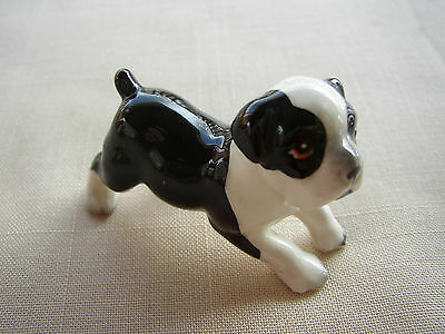 Mini Ceramic Figurine Boston Terrier (?) Bulldog (?) Dog ~ Japan Sticker ~L@@k