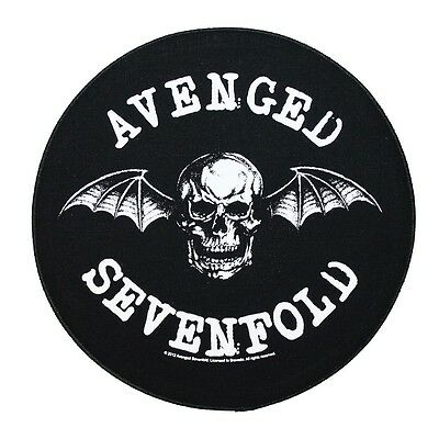 "XLG ""Avenged Sevenfold"" Deathbat Round Sew-On Back-Patch Metal Band Merchandise"