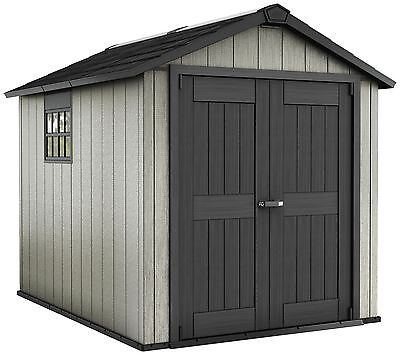 Keter Apex Paintable Lockable Reinforced Plastic Garden Shed - Choice of Size