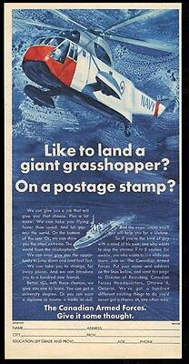 1966 Royal Canadian Navy ship helicopter art vintage recruitment print ad