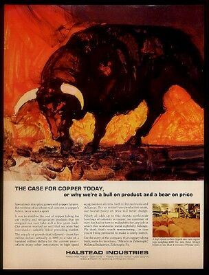 1967 dramatic bull art Halstead Industries copper products vintage print ad