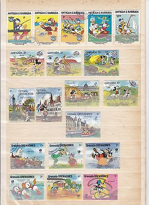 Petit lot de timbres dessins animés Walt Disney