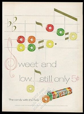1955 Life Savers 5 flavors candy as musical notes staff art vintage print ad