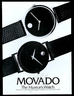 1986 Movado Museum watch 2 styles photo vintage print ad