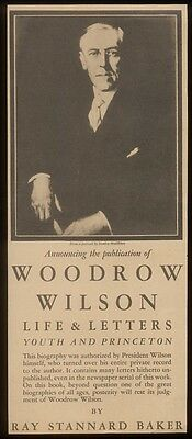 1927 Woodrow Wilson photo Life & Letters book release vintage print ad