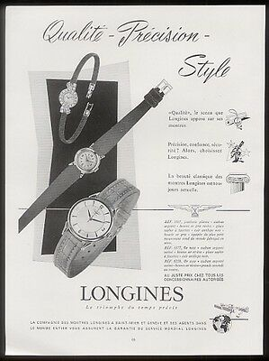 1956 Longines 3 watch models photo French print ad