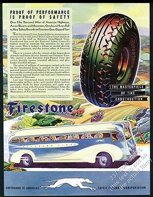 1936 Greyhound bus Firestone tires countryside art vintage print ad