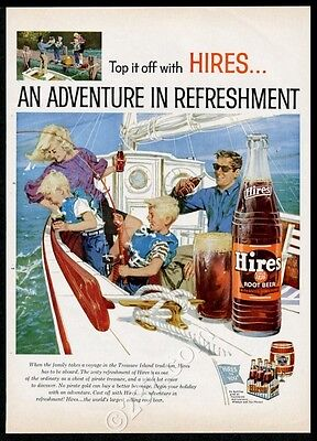 1959 Hires Root Beer sailing yacht sailboat family fishing art vintage print ad