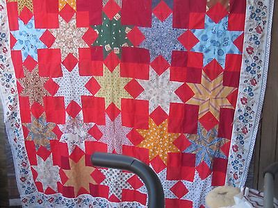 "MARVELOUS African-American ""Stars"" antique quilt TOP, eye-opener, full or queen"