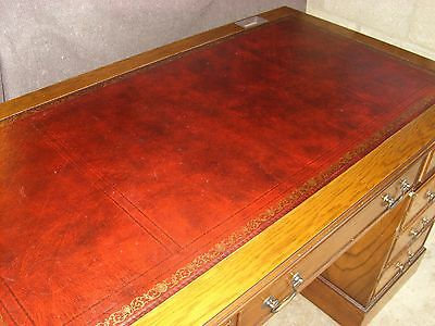 Antique Style Dark Red Leather Top Writing Desk