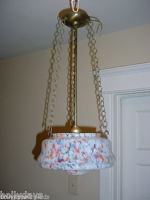Art Deco Vintage Chandelier Ceiling Fixture w Multi Colored Glass Shade