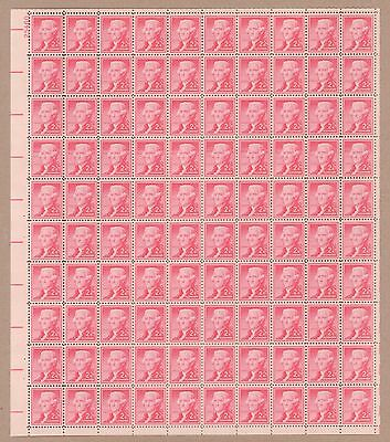 {BJ Stamps}  1033  Thomas Jefferson  MNH 3¢ sheet of 50.  Issued in 1954