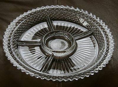 Vintage Anchor Hocking Depression Glass Miss America Crystal 5 Part Relish Nice!