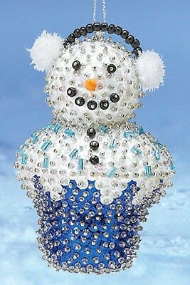 Kit makes 2 Snowman Cupcake Sequin Ornaments Christmas  Craft NEW