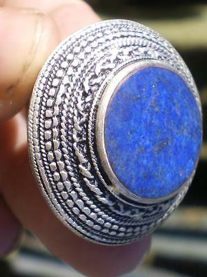 PURE NATURAL ANCIENT LAPIS LAZULI SILVER GIANT RING 98 cts ( PAKISTAN ) WOW