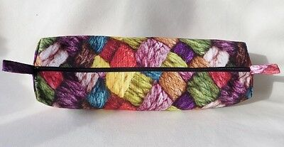 Handmade Fabric Knitting Needle Bag Craft Storage Bag Zipped/Lined: WOVEN WOOL