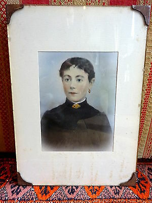 Antique circa 1900 over-painted photo Portrait Lady Micromosaic Jewellery