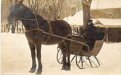 Man in a Horsedrawn Sleigh.Photographic Postcard.See Scans