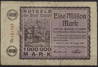 [20906] - Notgeld EMDEN, Stadt, 1 Million Mark, 12.08.1923, Keller 1347f, gebrau