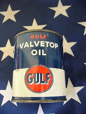 Vintage Gulf Valvetop Oil Full Unopened Steel Pint Can c1940s  NICE