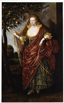 Lady in masque dress, called Lady Tanfield (1615) / M Gheeraedts - post card