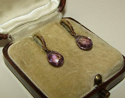 Beautiful, Art Deco, 9 Ct Gold Earrings With Fine Natural Amethyst Gems