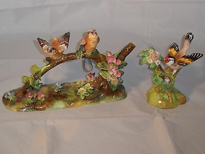 Crown Staffordshire Pair Birds & Flowers Figure & Goldfinch Figure By J.t. Jones
