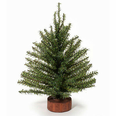 12 inch Green Artificial Mixed Pine CHRISTMAS Tree Wood Base Miniature Craft
