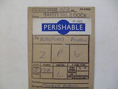 BR Wagon Label Barry Dock To Hereford Barton 1971
