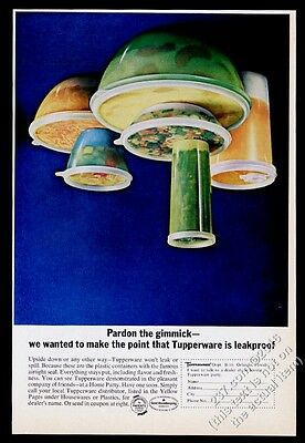 1965 Tupperware plastic containers upside-down photo vintage print ad