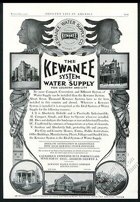 1907 Native American Indian art Kewanee Water Supply System vintage print ad