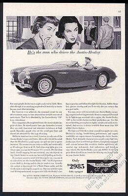 1955 Austin-Healey 100 car photo 2 women art vintage print ad