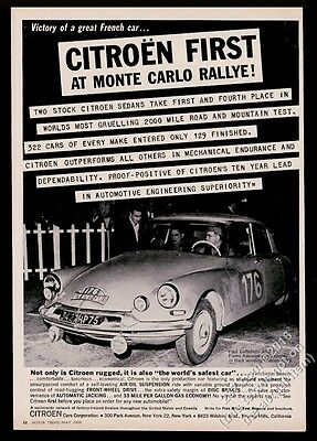 1959 Citroen ID19 Monte Carlo Rallye race car Paul Coltelloni photo print ad