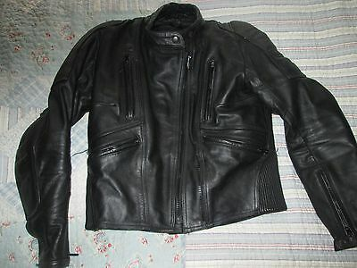 Frank Thomas Ladies Black Leather Motorcycle Jacket,size 12,with Armour & Liner