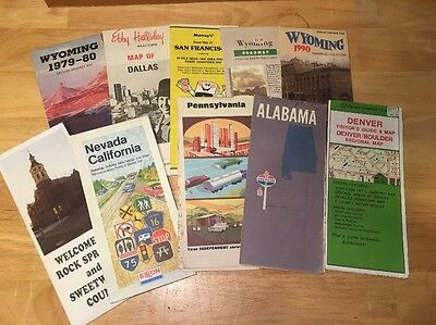 Lot Of 10 Older Gas & Oil Advertisement Road Maps 1970's 80's Various Areas