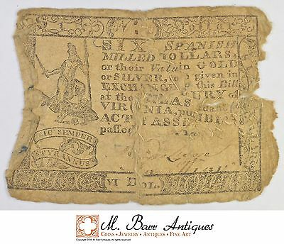 Sewn-Together 1700's $6.00 Virginia Colonial Currency *374