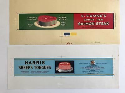 2 Rare 1940s Proof Tin Labels Advertising Cookes Salmon & Harris Sheep Tongues