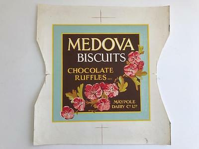 Rare 1940s Proof Tin Label Advertising Maypole Dairy Biscuits Chocolate Ruffles