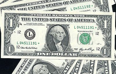 10 of 2006 US 1$ Replacement Bank Notes In Series (L04511191* - L04511200*)