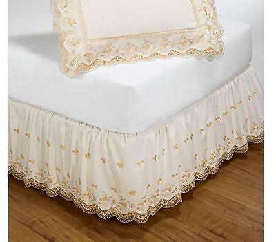 """New Lace Embroidered Ecru 14"""" Bedskirt Dustruffle Twin"""
