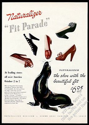 1944 sea sea lion juggling Naturalizer women's shoes William Bolin art ad