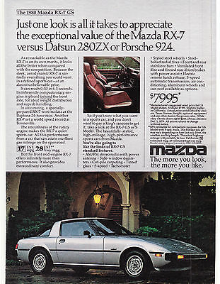 Original Print Ad-1980 Just one look is all it takes to appreciate MAZDA RX-7 GS