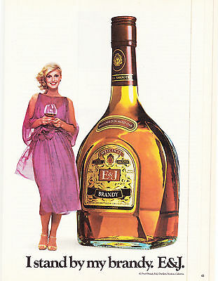 Original Print Ad-1980 E&J BRANDY-I Stand By My Brandy. Pretty Girl/Purple Dress