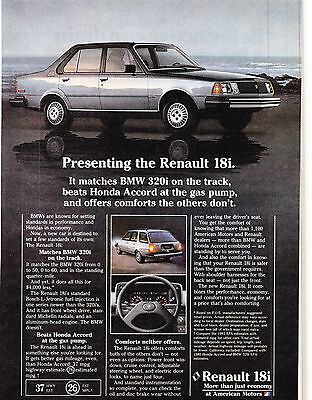 Original Print Ad-1980 Presenting the RENAULT 18i. Matches BMW 320i on the track