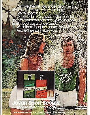 Original Print Ad-1979 JOVAN SPORT SCENTS-Life is a Contact Sport-Water Fountain