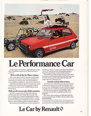 Original Print Ad-1978 Le Performance Car/RENAULT-On The Sand with Dune Buggies