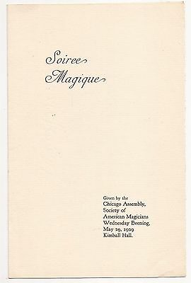 SOIREE MAGIQUE Society of American Magicians Chicago Assembly 1929 Program
