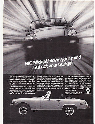 Original Print Ad-1978 MG MIDGET blows your mind not your budget. Cool B&W IMAGE