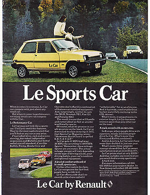 Original Print Ad-1978 Le Sports Car by RENAULT-Le Car Couple Watching Road Race